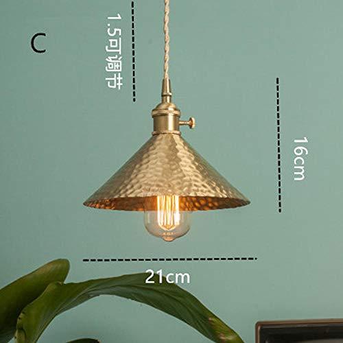 Hanglamp, plafondlamp, kroonluchter, van messing, vintage-look, glas, Amerikaans, restaurant, nachtkastje, eenvoudig, Scandinavisch en koper