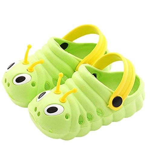 Kleine Tomate Unisex Kinder Hausschuhe Kinder Clogs Gartenschuhe Raupe Bequemer Atmungsaktiv Strand Aqua Slippers, Grün, Gr. 21(Schuhe Innenlänge:125mm)