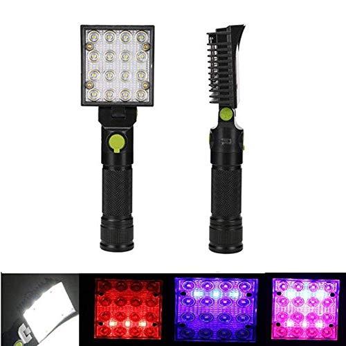 BXU-BG Iluminación al aire libre, 5 W 16 LED Luz de trabajo azul blanco rojo iluminación reparación del coche USB antorcha imán tienda camping linterna luz
