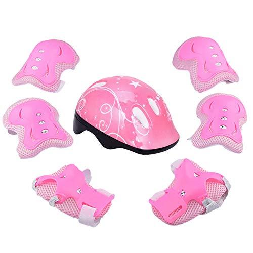 YYWJ - Conjunto de 7 piezas de protección para niños, para deportes al aire libre, casco y coderas de muñeca, para patinaje, monopatín, scooter, ciclismo, niños y niñas, color Rosa, tamaño Tamaño libre