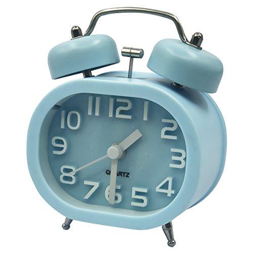 Coolzon® Analoge Wecker 3 Zoll Doppelglockenwecker Quarzwecker Kein Ticken Geräuschlos Wecker Laut Alarm Clock Batteriebetrieben Glockenwecker mit Nachtlicht (Blau)