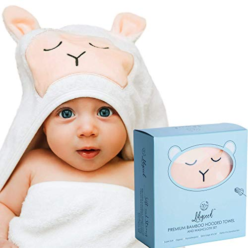 Premium Bamboo Hooded Baby Towel - Ultra Soft Organic Baby Bath Towel Set for Baby & Toddlers - Cute Lamb Baby Hooded Towel for Baby Girl & Boy- Organic Baby Towel & Washcloth-XL Infant Towel-Lilyseed