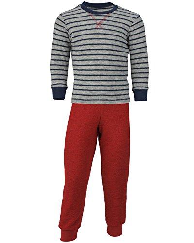 Engel Natur, Kinder Schlafanzug Frottee, 100% Wolle (kbT) (104, Hellgrau Melange/Rot)