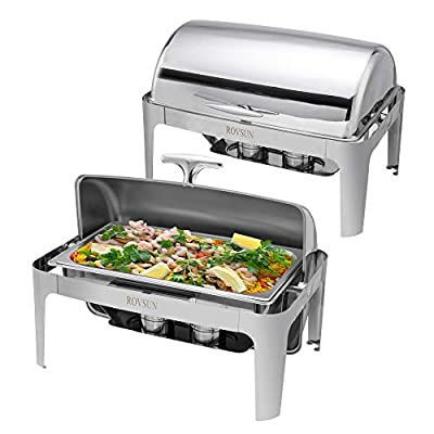 ROVSUN 2-Pack Roll Top Chafing Dish, 9 Quart Full Size Pan Chafer, Stainless Steel Rectangular Set with Food Pan, Water Pan and Fuel Holders, for Buffet, Wedding, Parties, Banquet, Catering Events