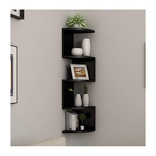 Asskanaer Eckregale zur Wandmontage, klassisches, radiales Eck-Wandregal mit 5 Ebenen for die Aufbewahrung von Bücherregalen (Color : Black)