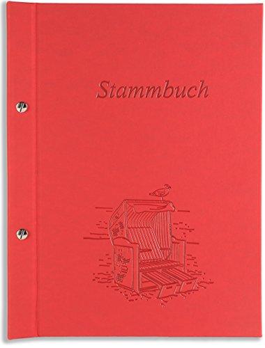 A5 Stammbuch Hochzeit rot Pantai Strandkorb Strand Design