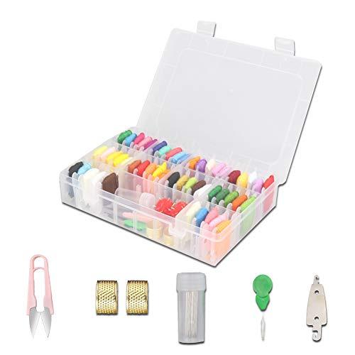 Kit de hilos de bordado Kits de costura: con 5 herramientas de bordado gratuitas Hilo de color Hilos de punto de cruz Hilo artesanal Costura Pulseras de amistad Hilo para manualidades DIY (50 colores)