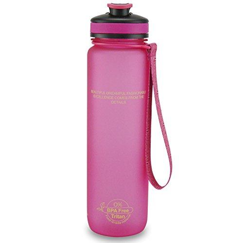 SMARDY Trinkflasche BPA-Frei, Auslaufsichere Wasserflasche, Sportflasche aus Tritan 1L, Pink, Leicht und Nachhaltig