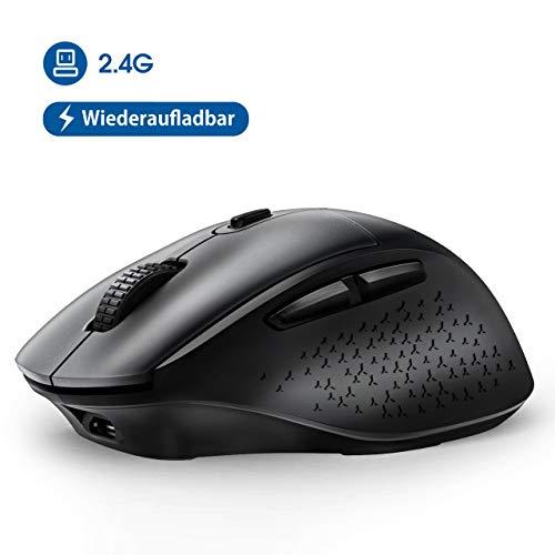 VicTsing Maus Kabellos, (2020 Neuest) Funkmaus Wiederaufladbar PC Maus Wireless mit 5 Einstellbare DPI / 6 Tasten, Wireless Mouse Silent Ergonomisch für Laptop, Tablet, Computer, Notebook