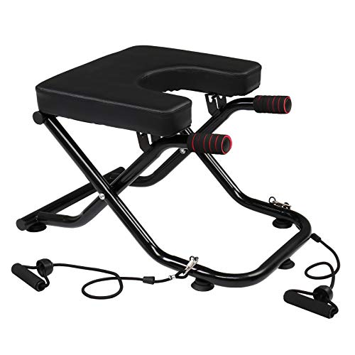 PEXMOR Yoga Headstand Bench, Foldable Inversion Chair with Stretch Bands and Handles, Inverted Training for Home Gym Yoga Studio