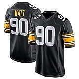 Maillot de football américain #90 T.J. Watt Pittsburgh Steelers - Maillot de rugby en coton respirant pour homme, 123, Noir , S(170~175CM)