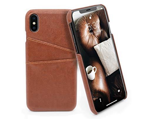 MyGadget Funda Back Case en Cuero PU con Tarjetero para Apple iPhone X/XS - Carcasa Portatarjetas en Piel Sintética con Bolsillo [2 Ranuras] - Cafe