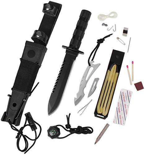Storfisk fishing & more Survival Messer Gürtelmesser Outdoor Jagdmesser mit Kunststoffscheide, Multitool, Angelset, Nähset, Überlebensausrüstung