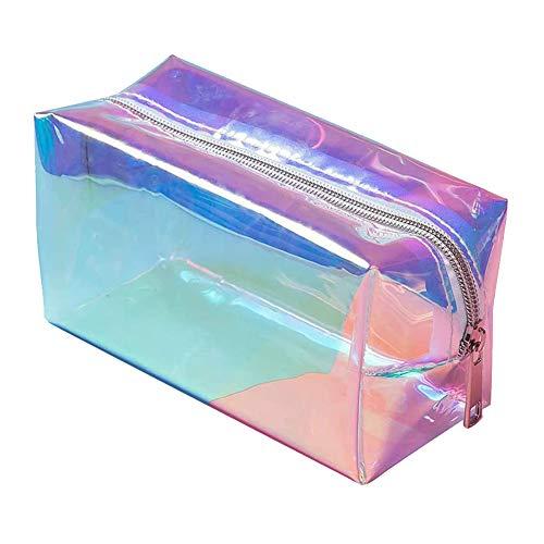 FouTP 1 Stück Make-up-Tasche, schillernd, holografisch, transparent, große Kapazität, Kulturbeutel, Farbe Laser