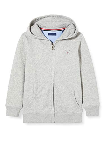 GANT Jungen The ORIGINAL Full Zip Sweat Hoodie Kapuzenpullover, Grau (Light Grey Melange 94), 164 (Herstellergröße: 158/164)