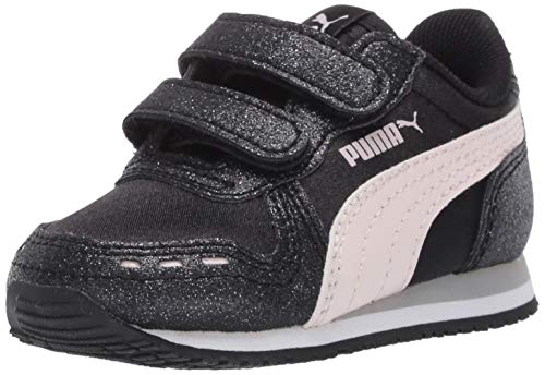 PUMA baby girls Cabana Racer Glitz Velcro Sneaker, Puma Black-rosewater-puma White, 5 Toddler US