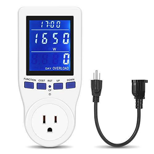[2019 Upgrade] Electricity Usage Monitor Power Meter Plug Extension Cord Home Electrical Analyzer with HD LCD Backlight Display Volt Amps Watt kWh Consumption Overload Protection Calculate CO₂Emission