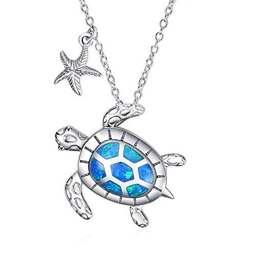 WINNICACA Schildkröte Halsketten Sterling Silber Seestern Anhänger Halsketten Opal Ozean Schmuck für Frauen Mädchen Muttertag