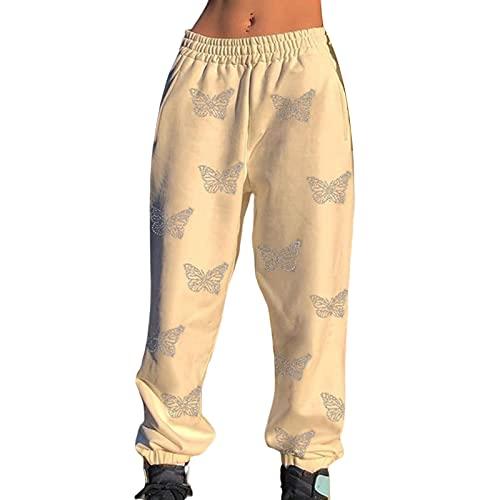 RICHBA Sudadera con capucha para mujer, diseño de mariposa, de gran tamaño, con cremallera, manga larga, pantalones de salón con bolsillos, Pantalones blancos, L