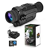 CREATIVE XP 2021 Digital Night Vision Monocular PRO for 100% Darkness - Travel Infrared Monoculars Save Photos & Videos - IR High-Tech Spy Gear for Hunting & Surveillance - Card Reader Included Black