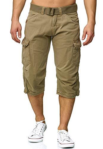 Indicode Herren Nicolas Check 3/4 Cargo Shorts kariert mit 6 Taschen inkl. Gürtel aus 100% Baumwolle   Kurze Hose Sommer Herrenshorts Short Men Pants Cargohose kurz für Männer Greige XL