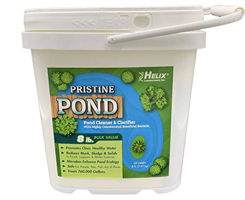 Pristine Pond Cleaner and Clarifier with highly concentrated Beneficial Bacteria. Reduces Muck, Solids, and Sludges in Lagoons, Ponds, Water Features. Safe for Koi. Treats up to 760,000 gallons