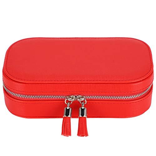 Almacenamiento portátil para pendientes y collares con cremallera, caja de joyería, adecuado para actividades al aire libre, viajes, compras, transporte de fiestas (rojo)