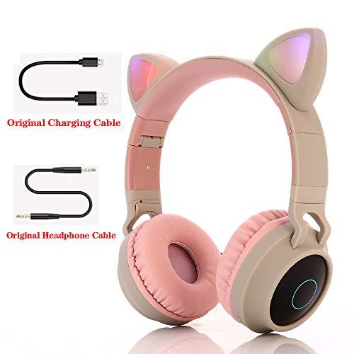 Bluetooth over-ear koptelefoon, over-ear koptelefoon Opvouwbare headset Actieve ruisonderdrukking Cat ear-koptelefoon Premium oplaadbaar HD-geluid voor school/pc/mobiel -,Gray pink