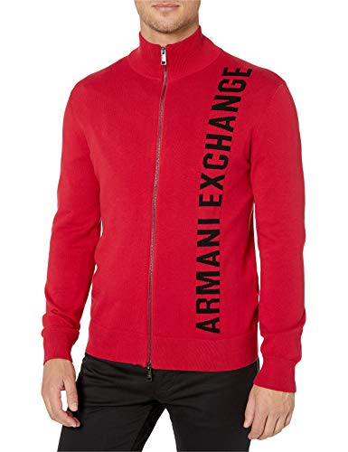 A|X Armani Exchange Men's Ribbed Hem Zip Up Sweater with Large AX Logo, Scarlet sage, XL