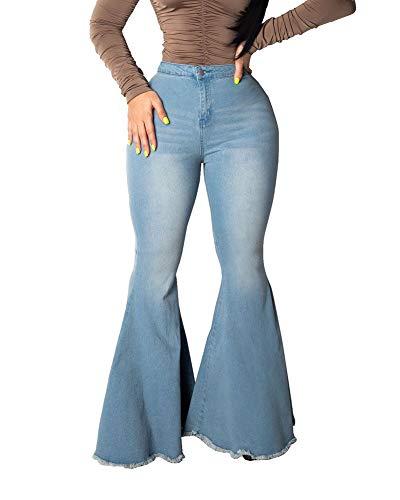 Femmes Bleu Taille Haute Évasé-Jupette Sexy Ladies Stretching Jeans Denim Pantalons Jambe Large,XXL