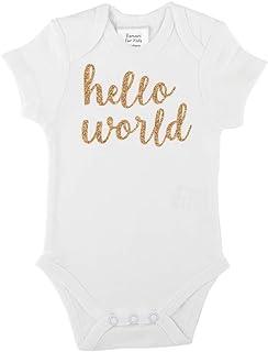Romari for Kids Hello World Bodysuit White and Gold Glitter Baby Girl Clothes