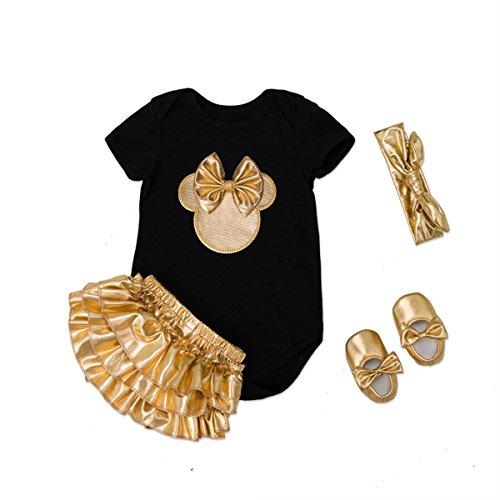 Tianhaik babyset voor meisjes, 4-delig, voor de zomer, schattige muis + pantskirt + haarband + schoenen voor 0-24 maanden