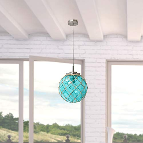 Elegant Designs PT1003-AQU Nautical Ceiling Light Pendant, Aqua/Natural