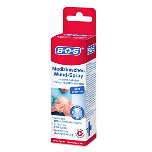 SOS Medizinisches Wund-Spray, zur schonenden Wundreinigung bei akuten Verletzungen, beschleunigt die Wundheilung und reduziert die Schwellung, zur schnellen Wundversorgung, 1 x 50 ml Sprühflasche