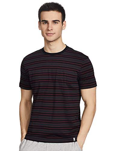 Jockey Men's Striped Regular fit T-Shirt (2717_Blk/Grpht/Sh Red M)