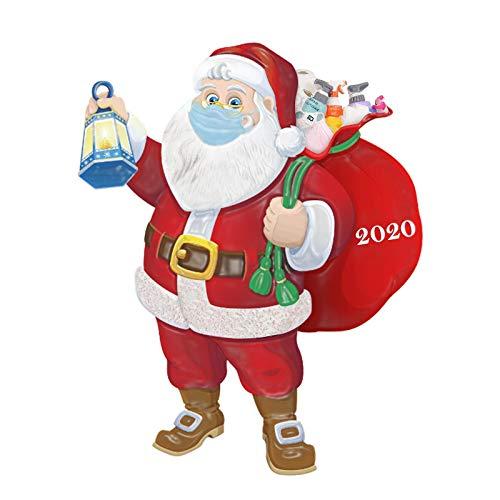 AOXING 2020 Decoración de Navidad Adornos Cuarentena Navidad Papá Noel con saco, figuras colgantes de árbol, decoración de Navidad para conmemoración de tiempos difíciles para 2020