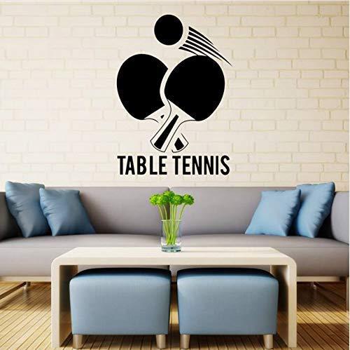 Calcomanía De Pared De Tenis De Mesa Ping Pong Gimnasio Pegatina De Vinilo Decoración Artística Mural Deportivo 41X57Cm