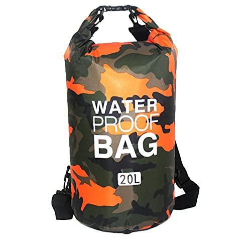 Wasserdicht Dry Bag Schwimm Dry Rucksack Leichte Dry Sack für Strand Bootfahren Angeln Kajakfahren Schwimmen 20L Orange für Schwimmen, Bootfahren, Kajak, Camping und Strand