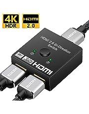 HDMI切替器 hdmiセレクター 双方向 HDMI分配器 4K/3D/1080p 2入力1出力 1入力2出力 手動切り替え 電源不要 Apple TV/Chromecast Stick/液晶テレビ/Xbox/PS3/PS4 など対応