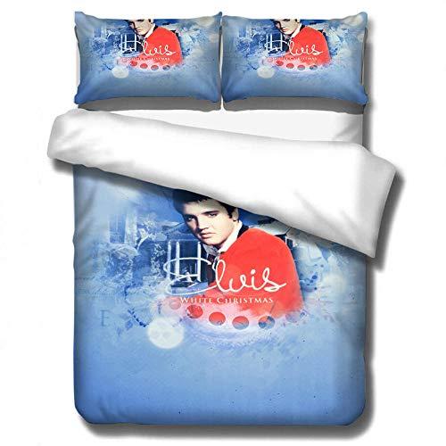 Presley Rapper Bettwäsche Set Musik Bettbezug Rock Star Bettbezug 3D gedruckte Bettbezug Kissenbezug Home Textile-7_210 * 210 cm (3 Stück)
