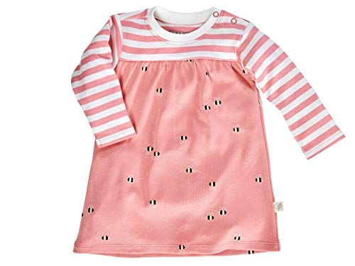 Bio Baby Kleid Langarm 100% Bio-Baumwolle (kbA) GOTS zertifiziert, Biene Rosa, 62/68