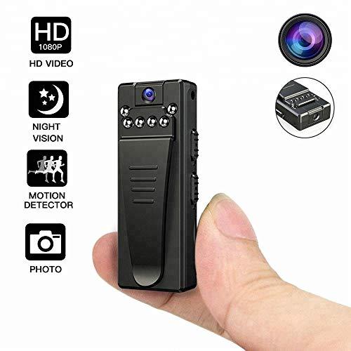 Cámara de Vídeo Mini, DEXILIO Cámara Digital HD portátil de 1080p con una Pinza Trasera,con detección de Movimiento/visión Nocturna/grabación/Lente giratoria,Incluye Tarjeta de 32G SD