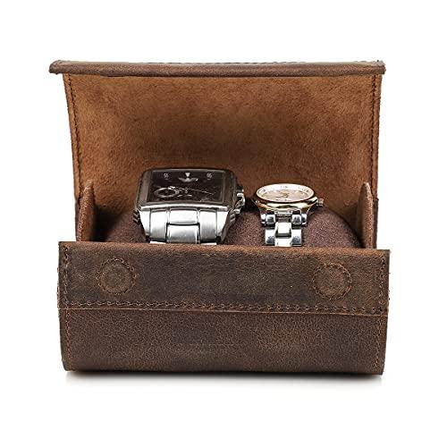 Hiram Caja de viaje de cuero para reloj cilíndrico, caja de almacenamiento hecha a mano, organizador de joyas de estilo retro, 2 relojes, caja de almacenamiento de viaje rollo de café
