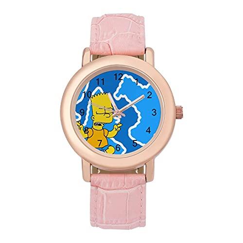 SimpsonsLadies Reloj de cuarzo de cuero con correa 2266 espejo de cristal redondo rosa accesorios casuales moda temperamento 1.5 pulgadas
