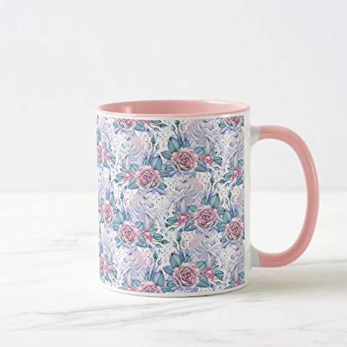 Kaffeebecher mit rosa und blauen Rosenmuster, 325 ml