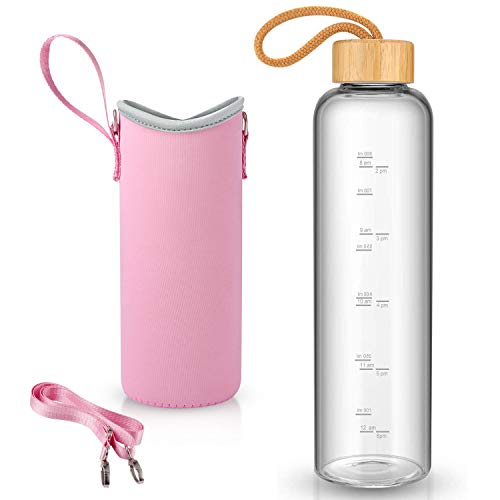 32 oz Glass Water Bottle with Nylon Bottle Protection Sleeves and Stainless Steel Lid 1L Time Marked Measurements Reusable Eco Friendly Safe for Hot Liquids Tea Coffee Daily(Small-Pink-Bamboo)