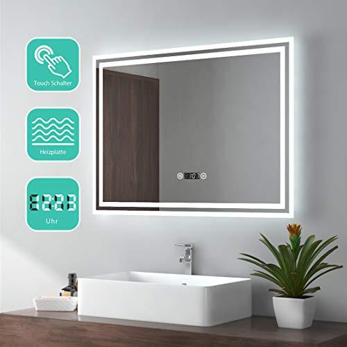 EMKE 80x60cm LED Badspiegel Wandspiegel Beleuchtung Badezimmerspiegel mit Touch-Schalter, Digitaluhr und Anti-Beschlag