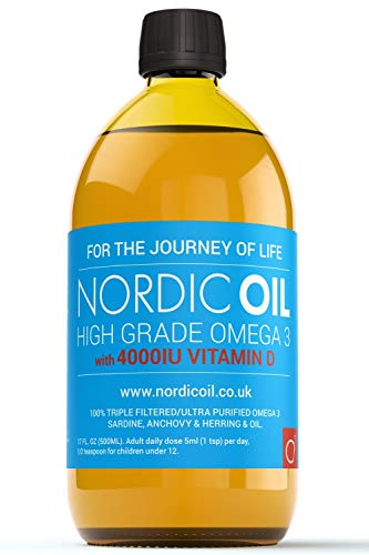 Nordic Oil High Strength 500ml Omega 3 Fish Oil with 4000iu Vitamin D3 in Natural Cholecalciferol Form. Taste Award Winning Lemon Flavoured and Tested