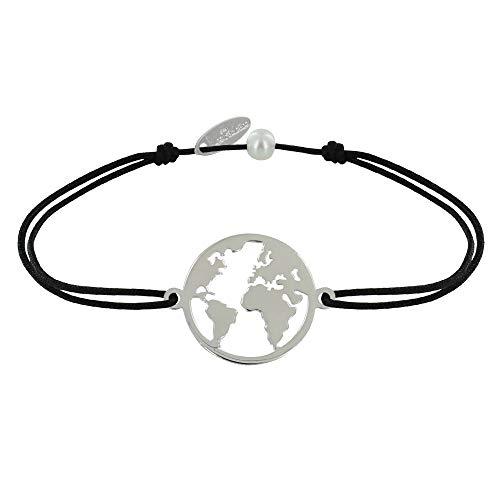 Joyas Les Poulettes - Pulsera de Enlace Medalla de Plata Redonda Mapa del Mundo - Negro