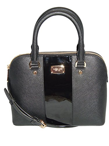 """Saffiano Leather; gold tone hardware, zip closure Double handles, removable & adjustable strap - drop 17"""" - 20"""" Signature lined interior; 4 open multi-function pockets, 1 zip pocket Protective feet on bottom Approximately: 9.75"""" W (at base) 8.75"""" W (..."""